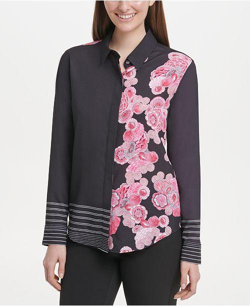 DKNY Collared Floral-Print Shirt
