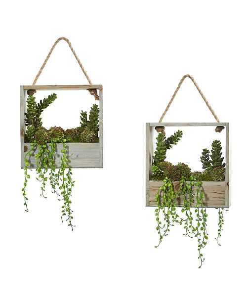 Nearly Natural Succulent Garden Artificial Plant in Decorative Hanging Frame (Set of 2)