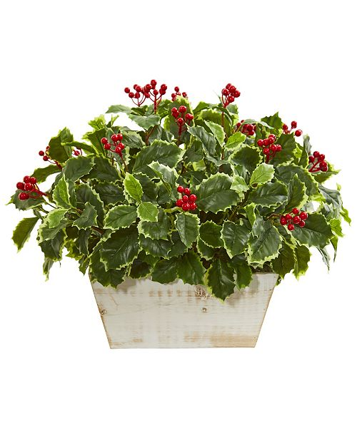 Nearly Natural Variegated Holly Leaf Artificial Plant (Real Touch)