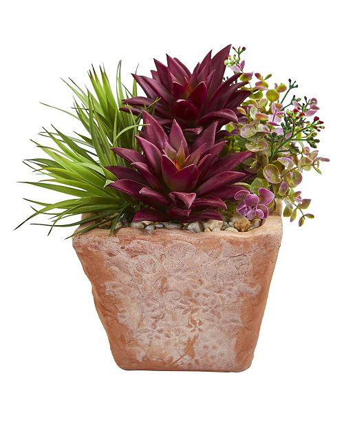 Nearly Natural Succulent Garden Artificial Plant in Terracotta Planter