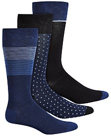 Perry Ellis 3-Pk. Men's Colorblocked Striped Socks