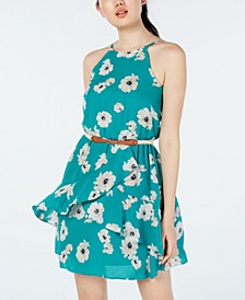 Juniors' Printed Ruffle-Front Dress with Belt