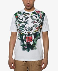 Sean John Men's Floral Tiger Graphic T-Shirt