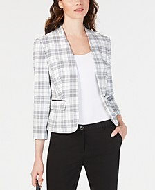 Stand-Collar Plaid Jacket