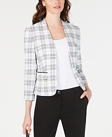 Nine West Stand-Collar Plaid Jacket