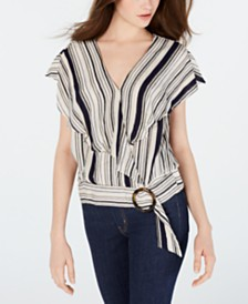BCX Juniors' Striped O-Ring Wrap Top