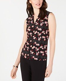 Nine West Sleeveless V-Neck Printed Top