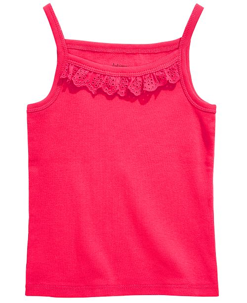 First Impressions Baby Girls Eyelet Ruffle Camisole Cotton Tank Top, Created for Macy's