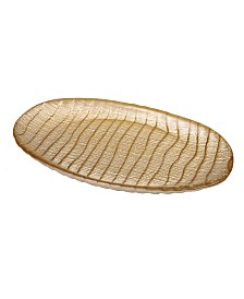 """Classic Touch 13"""" Metallic Oval Glass Tray"""