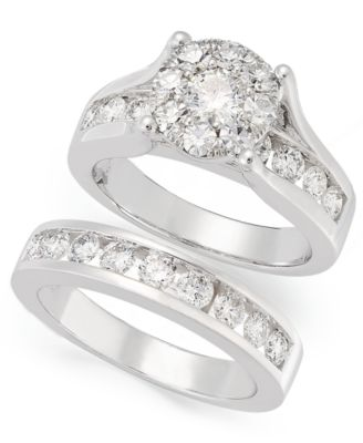Diamond Engagement Ring and Wedding Band Bridal Set in 14k White