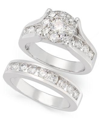 Diamond Wedding Ring Engagement Bridal Set In 14K White Gold Over For Womens