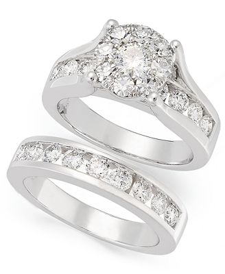 Macy S Diamond Engagement Ring And Wedding Band Bridal Set In 14k