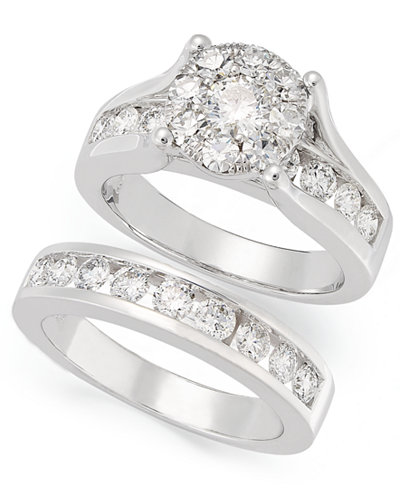diamond engagement ring and wedding band bridal set in 14k white gold 2 ct - Engagement Rings With Wedding Band
