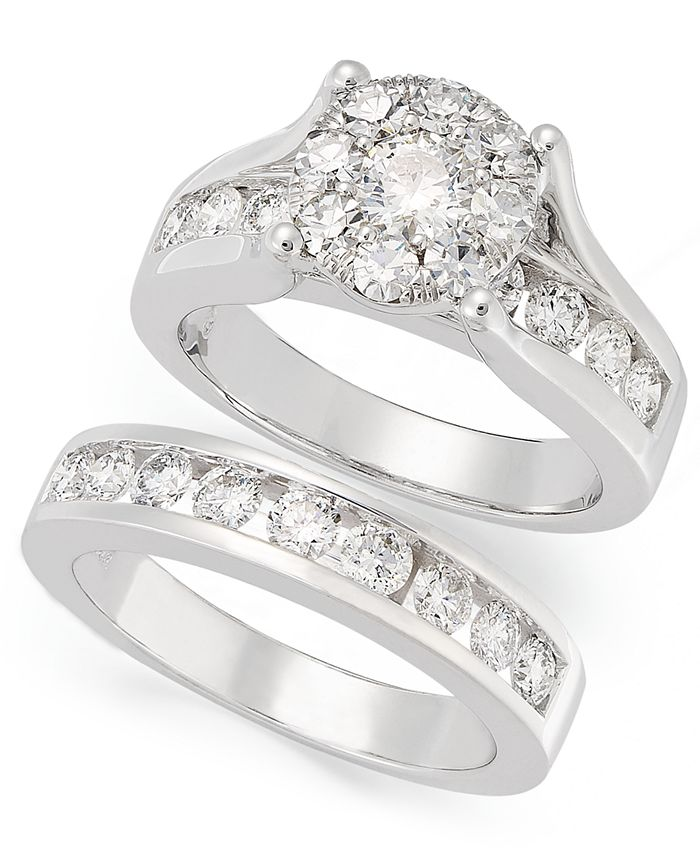 Macy's - Diamond Engagement Ring and Wedding Band Bridal Set in 14k White Gold (2 ct. t.w.)