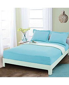 Elegant Comfort Silky Soft Single Fitted Set Queen Aqua