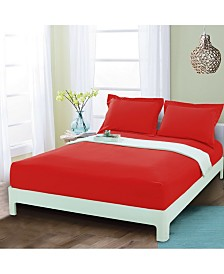 Elegant Comfort Silky Soft Single Fitted Set Queen Red