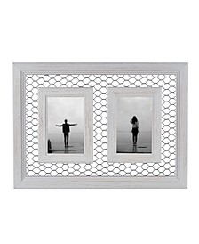 "Double Chicken Wire Whitewash Wood Picture Frame - 4"" x 6"""