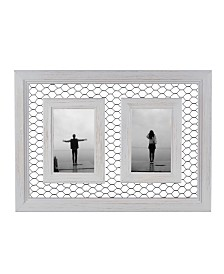 """Danya B. Double Chicken Wire Whitewash Wood Picture Frame - 4"""" x 6"""""""
