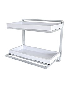 Wall Mount 2-Tier Chrome Shelving Unit with Towel Rack and Trays