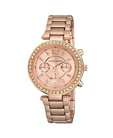 Laura Ashley Ladies' Faux Chrono Matte Rose Gold Bracelet Watch