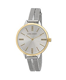 Two Tone Gold Split Mesh Band Sunray Dial Watch