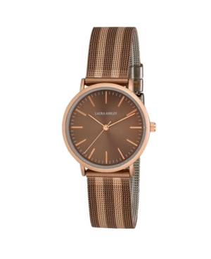 Laura Ashley Ladies' Brown Sunray Dial With Rose Gold Striped Mesh Band Womens Watch