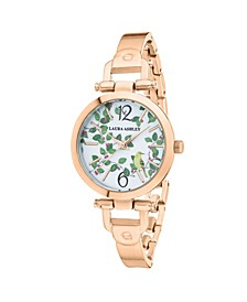 Thin Rose Gold Metal Band Women's Designer Avery Garden Watch