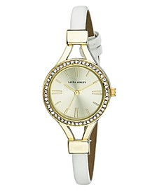 Ladies' White Thin Strap Gold Case Crystal Bezel Watch