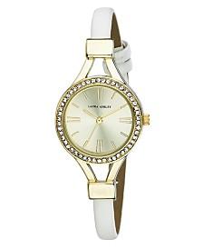 Laura Ashley Ladies' White Thin Strap Gold Case Crystal Bezel Watch