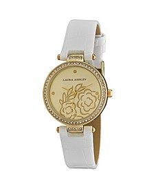 Ladies' White Crystal Bezel T-bar Floral Grey Alligator Strap Watch