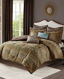 Madison Park Hickory California King 8 Piece Chenille Jacquard Comforter Set