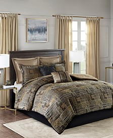 Madison Park Danville Queen 8 Piece Chenille Jacquard Comforter Set
