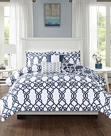 510 Design Neptune Full/Queen 5 Piece Reversible Print Comforter Set