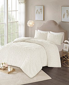 Laetitia King/California King 3 Piece Cotton Chenille Medallion Comforter Set