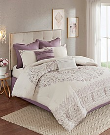 Madison Park Elise California King 8 Piece Cotton Printed Reversible Comforter Set