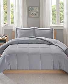 Intelligent Design Carson Twin/Twin XL Reversible Frosted Print Plush to Heathered Microfiber 2 Piece Comforter Set