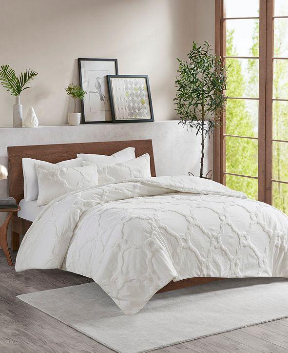 JLA Home Madison Park Pacey Full/Queen 3 Piece Cotton Chenille Geometric Comforter Set
