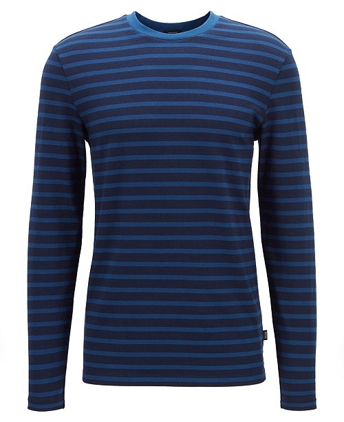 6cc42c3c4 ... Hugo Boss BOSS Men's Talley 05 Horizontal-Striped Long-Sleeved Cotton T- Shirt ...