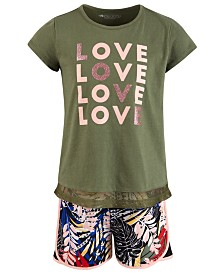 Ideology Little Girls Mesh-Hem T-Shirt & Printed Shorts, Created for Macy's