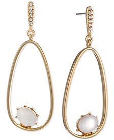 Gold-Tone Pavé & Stone Oval Drop Earrings