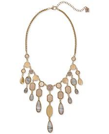 "Gold-Tone Pavé & Stone Statement Necklace, 16"" + 2"" extender"