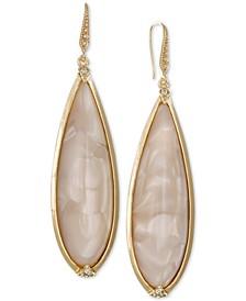 Gold-Tone Elongated Swirl Bead Drop Earrings