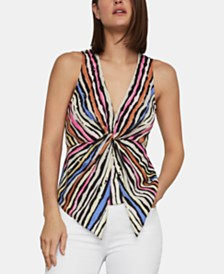 BCBGMAXAZRIA Striped Twist-Front Top