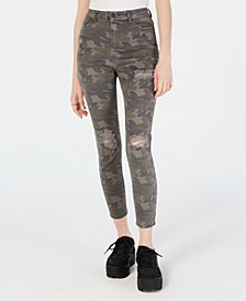 Juniors' Ripped Camo-Print Skinny Jeans