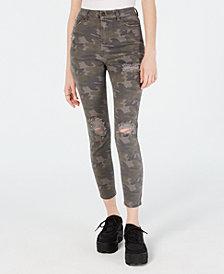 Vanilla Star Juniors' Ripped Camo-Print Skinny Jeans