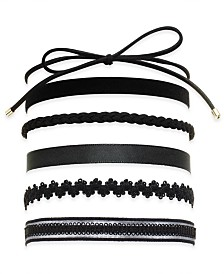 I.N.C. Black 6-Pc. Set Choker Necklaces, Created for Macy's