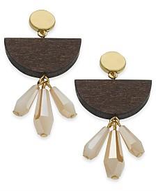 I.N.C. Gold-Tone Geometric Wood Double Drop Earrings, Created for Macy's