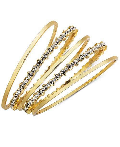 INC International Concepts INC Gold-Tone 5-Pc. Set Crystal Bangle Bracelets, Created for Macy's