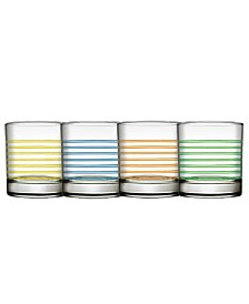Pasabahce Istanbul 4 Piece 10.25 Ounce Double Old Fashioned Glass Set, Assorted Colors