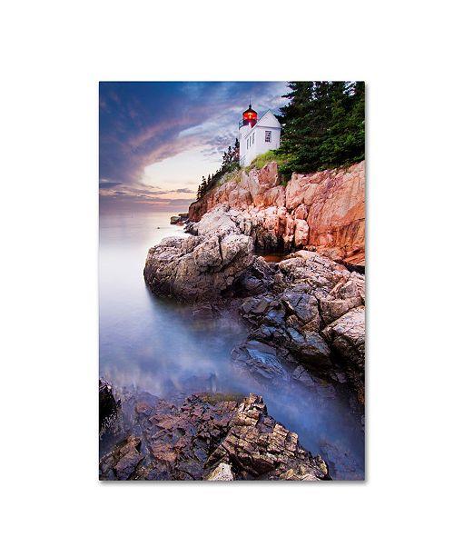 """Trademark Global Mircea Costina 'Sunset At Bass Harbor Lighthouse' Canvas Art - 19"""" x 12"""" x 2"""""""